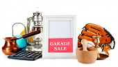 stock photo of yard sale  - Unwanted things ready for a garage sale - JPG