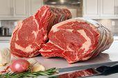 stock photo of ribs  - Prime rib beef roast - JPG