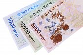 pic of won  - Set of Korean Won currency bills isolated on a white background - JPG