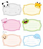 picture of cute animal face  - Colorful kids name tags with cute animal faces on corners - JPG
