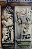 picture of building relief  - Stone carved erotic bas relief in Hindu temple in Khajuraho - JPG
