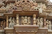 pic of carving  - Stone carved erotic bas relief in Hindu temple in Khajuraho - JPG