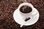 picture of coffee crop  - Black coffee cup and coffee beans background - JPG