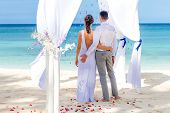 stock photo of wedding arch  - young loving couple on their wedding day - JPG