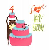 foto of cake stand  - Funny monkey standing with cake - JPG