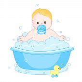 pic of bubble-bath  - An illustration of a cute little baby boy having bath isolated on white background - JPG