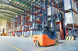 stock photo of forklift  - forklift loader pallet stacker truck equipment at warehouse - JPG