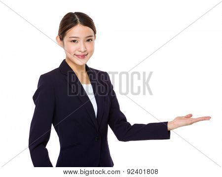 Asian businesswoman with open hand palm