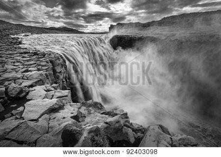 Dettfoss - waterfall on Jokulsa a Fjollum river in Iceland. Black and white treatment