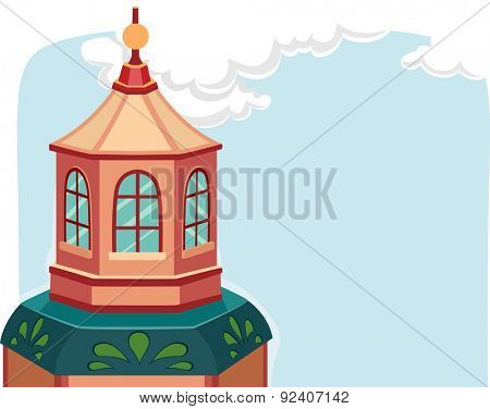 Illustration of a Building with a Small Dome on Top