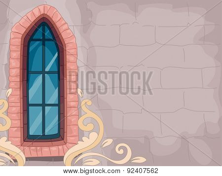 Illustration of a Walled Structure with a Lancet Window