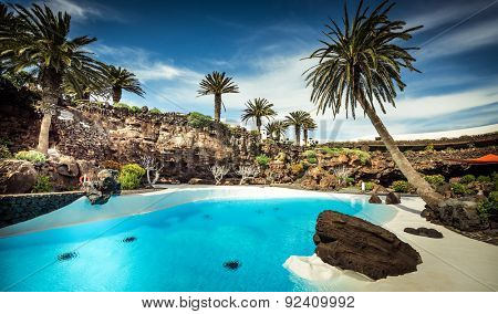 outer Jameos del Agua pool, Lanzarote, Canary Islands, Spain