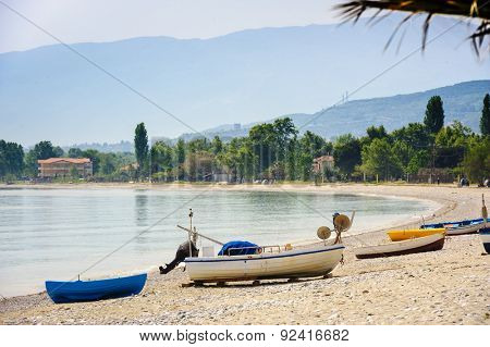 Fisher's boat at the sea beach, Leptokaria, Greece