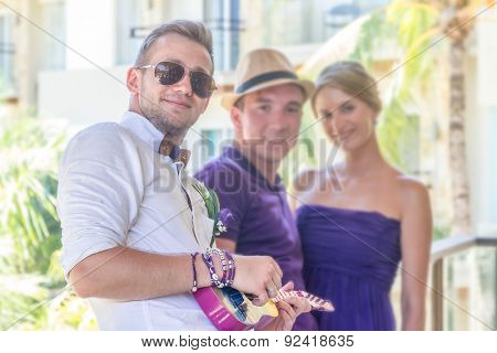 groom with friends, wedding guests