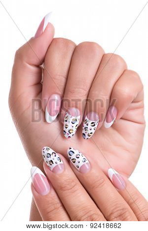 Beautiful woman's nails with beautiful french manicure