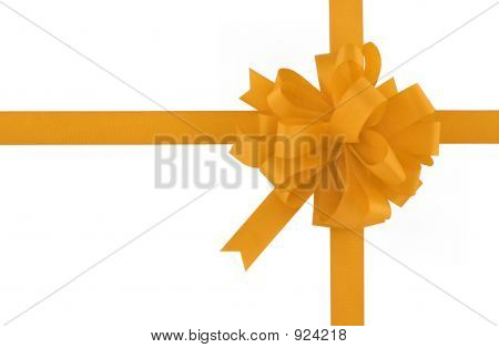 Yellow Bow And Ribbon On Pure White Background