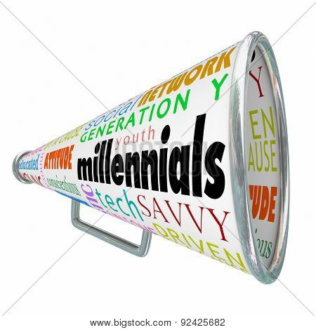 Millennials word on a bullhorn or megaphone to illustrate selling, promoting, advertising or marketing to the young people in Generation Y
