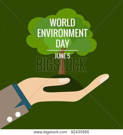 World environment day concept, Hands with tree. Vector illustration.