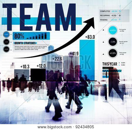 Team Teamwork Success Progress Gain Graph Concept
