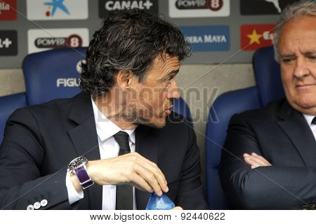 BARCELONA - APRIL, 25: Luis Enrique Martinez manager of FC Barcelona during a Spanish League match against RCD Espanyol at the Power8 stadium on April 25, 2015 in Barcelona, Spain
