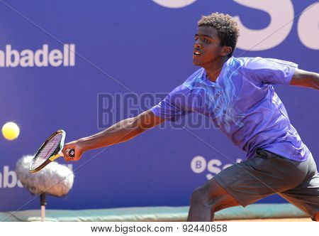 BARCELONA - APRIL, 23: Swedish tennis player Elias Ymer in action during a match of Barcelona tennis tournament Conde de Godo on April 23 2015 in Barcelona