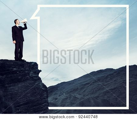 Businessman Shouting Mountain Tranquil Solitude Concept