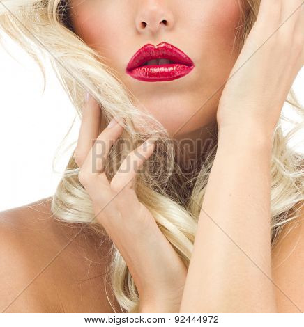 portrait of attractive  caucasian  woman blond isolated on white studio shot red lips  face long hair head and shoulders looking at camera