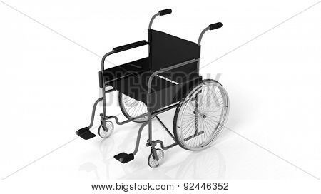 Black disability wheelchair isolated on white background