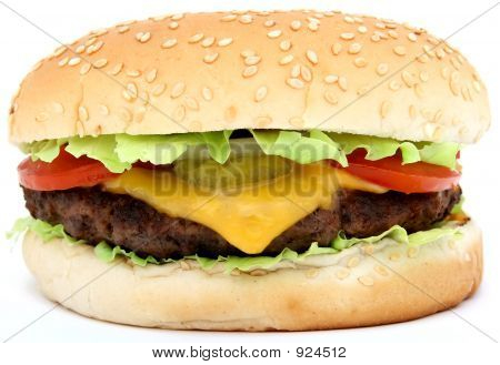 Hamburger, Beef Cheese Burger With Tomato