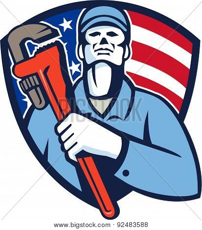 Plumber Holding Wrench Usa Flag Shield Retro