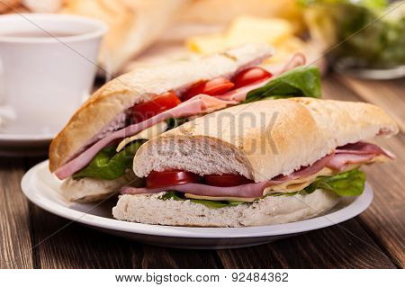 Panini Sandwich With Ham, Cheese And Tomato