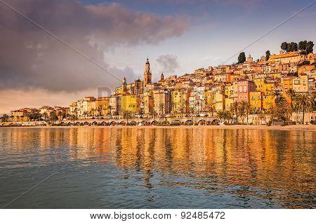 Cityscape View Of Colorful Village Menton, Cote D'azur, France