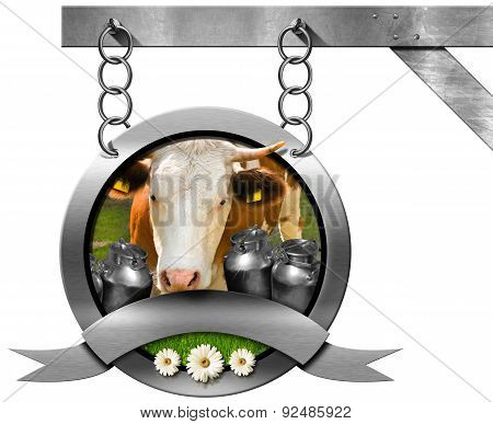 Dairy Products - Metal Sign With Chain