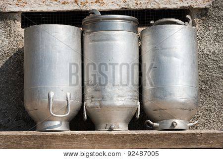 Old Milk Cans Made Of Aluminum