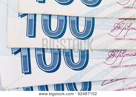 Turkish Banknotes In A Row