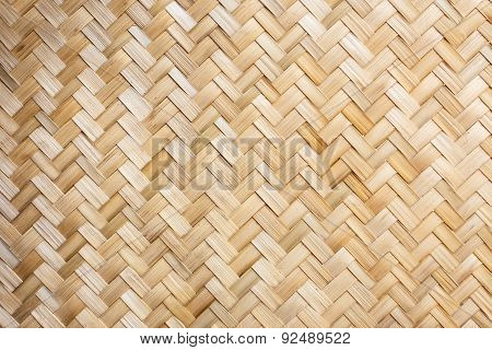 Thai Handcraft Of Bamboo Weave Pattern For Background