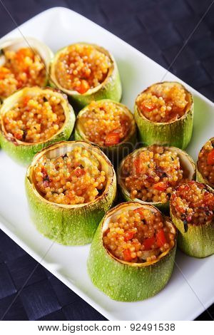 Zucchini Stuffed With Couscous