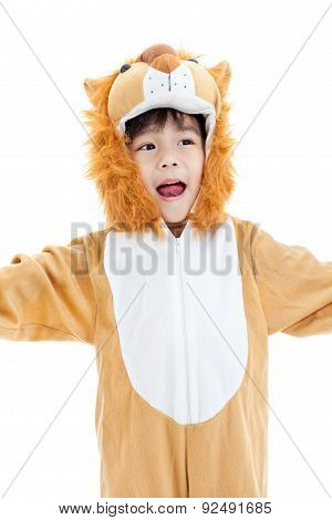 Little Lovely Asian Boy Costumed Like A Lion And Looking Ahead