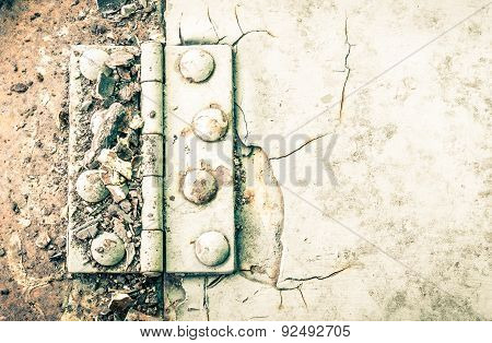 Hinge And Rust And Rivet On Metal Sheet Of Car Part High Contrast Style