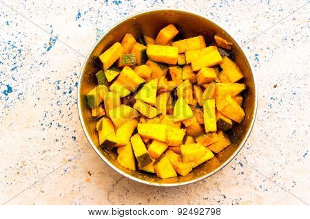 Indian cuisine ~ Finely chopped half ripe mango seasoned with spices