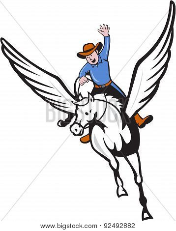 Cowboy Riding Pegasus Flying Horse Cartoon