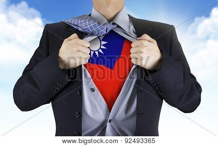 Businessman Showing Taiwan Flag Underneath His Shirt
