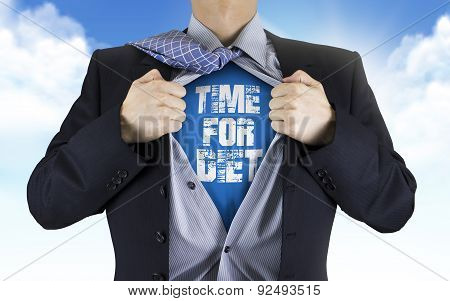 Businessman Showing Time For Diet Words Underneath His Shirt