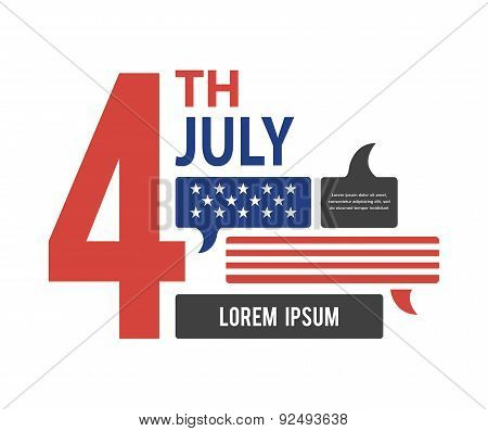 Usa - United States flag in speech bubble. July 4th, America, communication, democracy vector icon