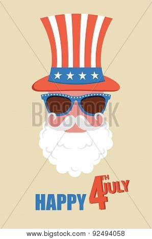Hipster man celebrate  independence day of  United states of America. 4th of July. Vector illustrati