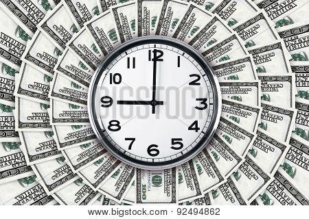 Wall Clock On Dollar Banknotes