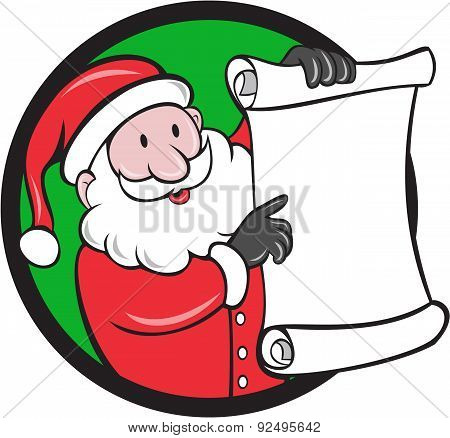 Santa Claus Paper Scroll Pointing Circle Cartoon