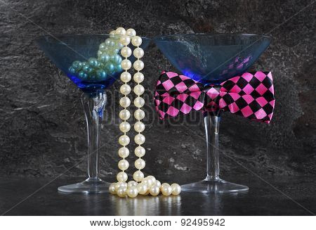 Lets Party Male And Female Cocktail Glasses.