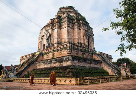 Ancient Pagoda build from brick at Wat Chedi Luang in Chiang Mai Thailand