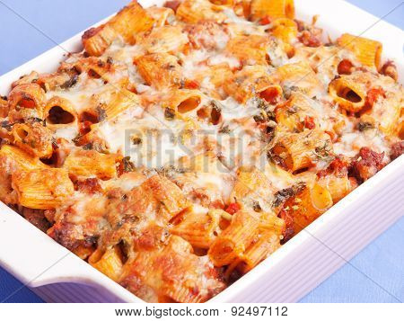 Baked Macaroni With Meat And Cheese